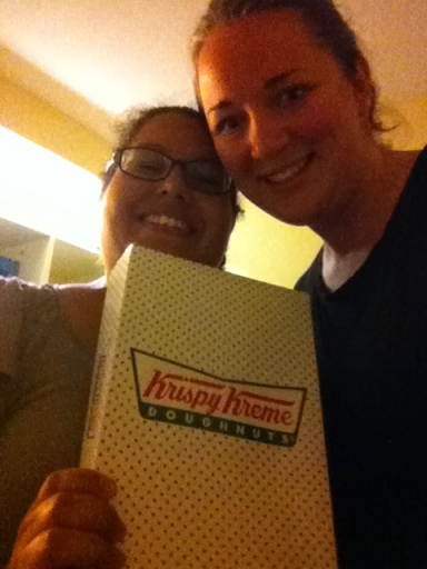Normally I would fill my bags with stuff to bring someone like Carmen, but, well, Haiti... So, being the fab friend that I am, I brought Krispy Kreme from the airport. Because America.